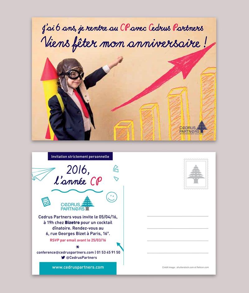 Carte postale envoyée pour les 6 ans de Cedrus Partners