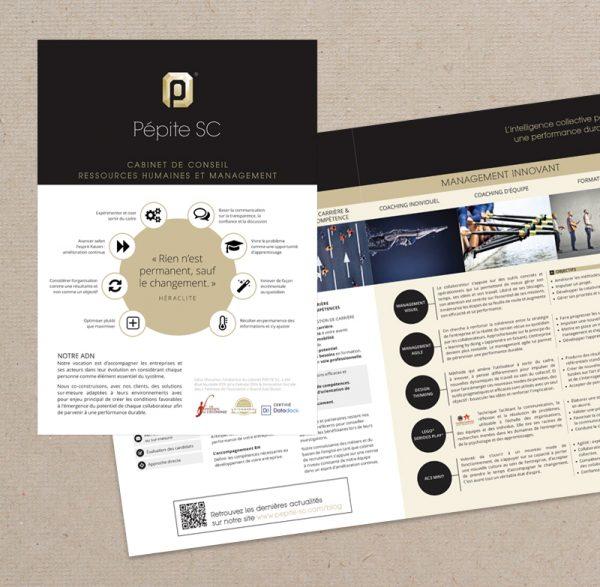 Plaquette présentant les services de l'entreprise Pépite SC